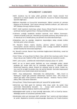Prof. Dr. Osman HORATA – TDE 471 Eski Türk Edebiyatı Ders Notları
