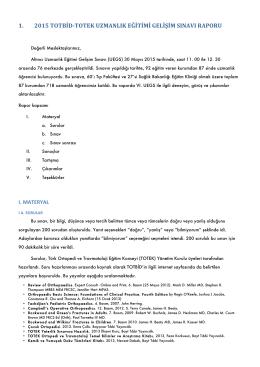 1. 2015 totbid-totek uzmanlık eğitimi gelişim sınavı raporu