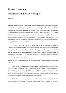 Ticaret Hakkında Felsefi Mektuplardan Mektup X