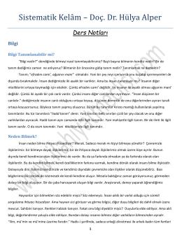 Sistematik Kelâm – Doç. Dr. Hülya Alper