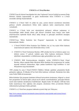 UNESCO ve L`Oreal Bursları UNESCO`nun iki küresel önceliğinden