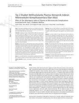 Tip 2 Diyabet Mellituslularda Plazma Aterojenik Indexin