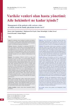 Variköz venleri olan hasta yönetimi: Aile hekimleri ne kadar içinde?