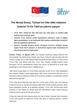 The Abraaj Group, Türkiye`nin lider tıbbi malzeme üreticisi Yü