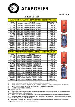 ataboyler fiyat listesi - 3 Boyut Enerji Sistemleri