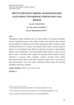 Kastamonu Üniversitesi Turizm Fakültesi Örneği
