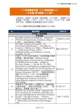 アジ研図書館所蔵 クルド関係図書リスト ~日本語・欧米諸語・トルコ語~