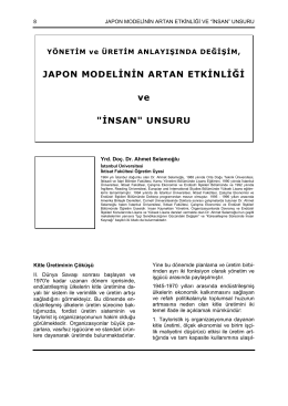 """JAPON MODELİNİN ARTAN ETKİNLİĞİ ve """"İNSAN"""" UNSURU"""