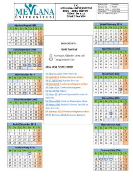 2015-2016 YILI İDARİ TAKVİMİ 2015