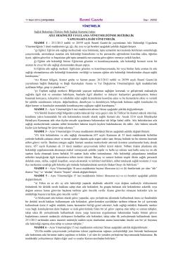 Resmî Gazete - Halk Sağlığı Müdürlüğü