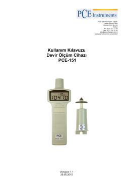 Kullanım Kılavuzu Devir Ölçüm Cihazı PCE-151