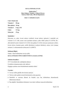 Sayfa 1/2# KULLANIM KILAVUZU İMMUZİNC® Beta Glukan