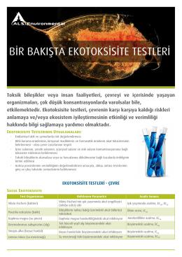 Ekotoksikolojik Analizler broşürümüze erişmek için tıklayın