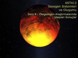 AST413 Gezegen Sistemleri ve Oluşumu
