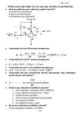 Transistör Soruları – Cevapları 2