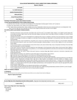 E-Posta Talep Formu - Celal Bayar Üniversitesi