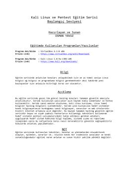 Kali Linux ve Pentest Eğitim Serisi Başlangıç