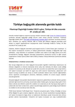 2015 14 Temmuz Türkiye Bağışçılık Alanında Geride Kaldı
