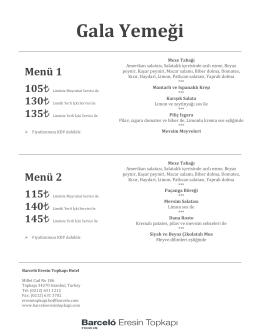 2016 Gala Yemeği Paketleri