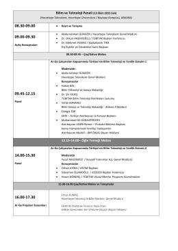 Bilim ve Teknoloji Paneli (13 Ekim 2015 Salı) 12.15-14.00