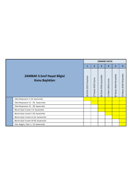3. sınıf sınav içeriği - Zambak Yayınları