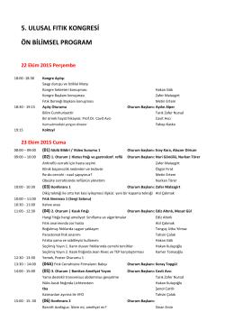 5. ulusal fıtık kongresi ön bilimsel program