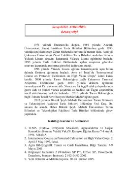 Yrd. Doç. Dr.Serap KIZILAYDEMİR - Bilecik Ziraat ve Doğa Bilimleri
