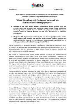 Türkiye İMSAD 17 Ağustos Depremi Basın Bülteni