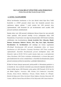 taıma mesleki taleplerimiz - TAIMA Türkiye Havacılık Bilgi Yönetimi