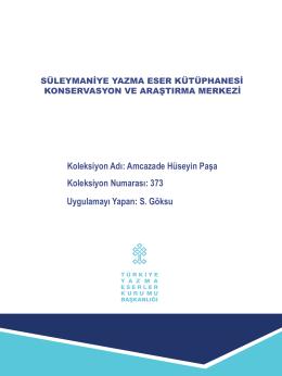 Koleksiyon Adı: Amcazade Hüseyin Paşa Koleksiyon Numarası: 373