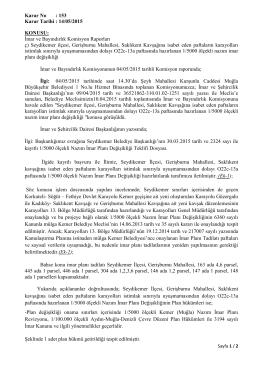 Karar No : 153 Karar Tarihi : 14/05/2015 KONUSU