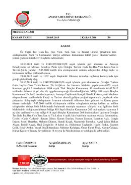Mayıs Ayı 39 Nolu Meclis Kararı