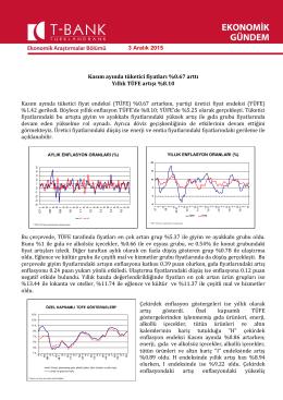 Kasım ayında tüketici fiyatları %0.67 arttı Yıllık TÜFE artışı %8.10