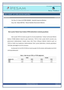 2015 mart ayı enflasyon raporu