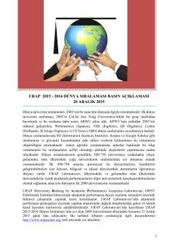 Urap 2015 - 2016 Dünya Sıralaması Basın Açıklamasına ulaşmak