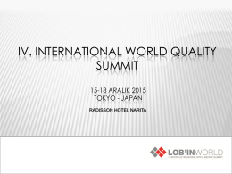 IV. INTERNATIONAL WORLD QUALITY SUMMIT