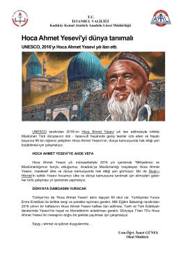 Hoca Ahmet Yesevi`yi dünya tanımalı
