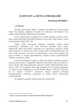 E-DEVLET ve DÜNYA ÖRNEKLERİ - Strateji Geliştirme Daire