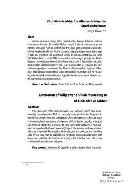 Kâdî Abdulcabbâr`da Allah`ın İrâdesinin Sınırlandırılması Limitation