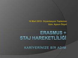 16 Mart 2015 Staj Oryantasyon