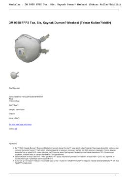 Maskeler : 3M 9928 FFP2 Toz, Sis, Kaynak Dumanı Maskesi (Tekrar