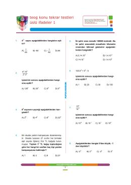 üslü ifadeler 1 teog konu tekrar testleri