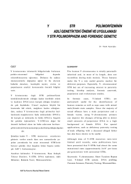 Y STR Polimorfizminin Adli Genetik Önemi ve