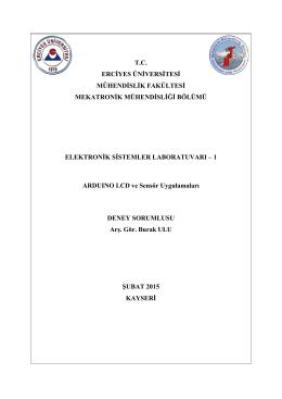 9. Ardunio ve Uygulamaları 2 - Mekatronik Mühendisliği Bölümü