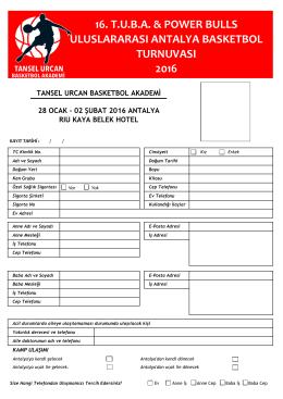Kayıt Formu - Tansel Urcan Basketbol Akademi