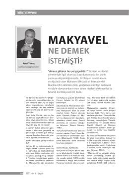 MAKYAVEL - Prof. Dr. Kadri Yamaç