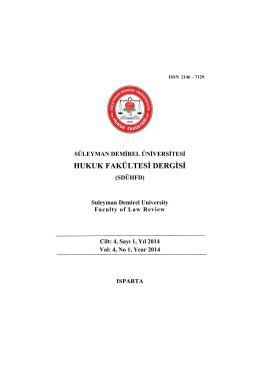 SDU Hukuk Dergisi Cilt. 4, Sayı 1, Yıl 2014 -
