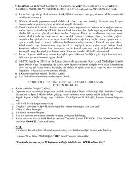 23 kasım - 08 aralık 2015 tarihleri arasında samsun ilinde güreş