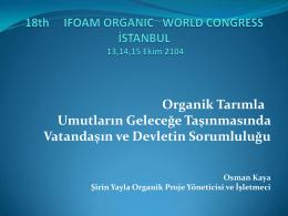 Organik Tarımın Yaygınlaştırılması