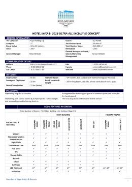 HOTEL INFO & 2015 ULTRA ALL INCLUSIVE CONCEPT